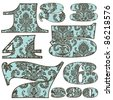 Vector Damask Pattern Number Set. Easy to edit. Great for your ornate design. - stock photo