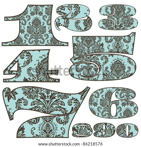 Vector Damask Pattern Number Set. Easy to edit. Great for your ornate design. - stock vector