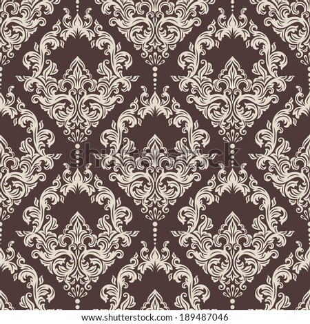 Vector damask seamless pattern background.  - stock vector