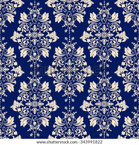 Vector damask seamless pattern background - stock vector