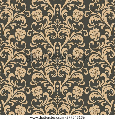 Vector damask seamless pattern background. Elegant luxury texture for wallpapers, backgrounds. Floral ornament with roses.
