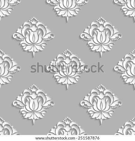 Vector damask seamless pattern background. Elegant luxury texture for wallpapers, backgrounds and page fill. 3D elements with shadows and highlights. Paper cut. - stock vector