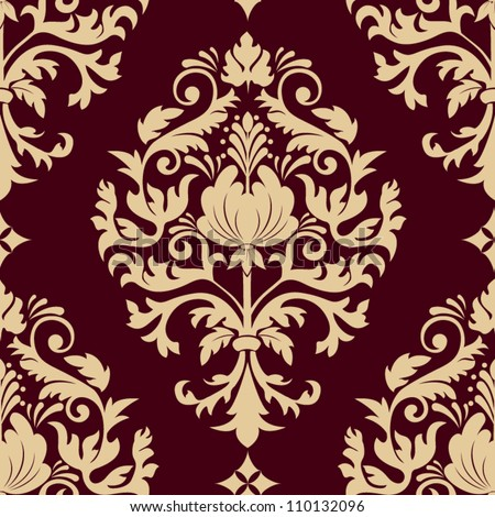 Vector damask seamless pattern element. Classical luxury old fashioned damask ornament, royal victorian seamless texture for wallpapers, textile, wrapping. Exquisite floral baroque template. - stock vector