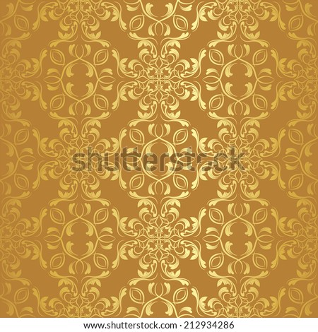 vector damask wallpaper. golden design elements. flower backdrop - stock vector