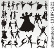 Vector dance people silhouettes - stock