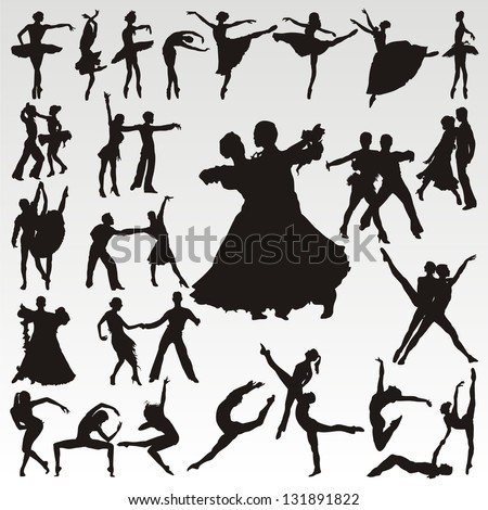 Vector dance people silhouettes - stock vector