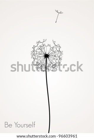 vector dandelion -  be yourself concept - stock vector