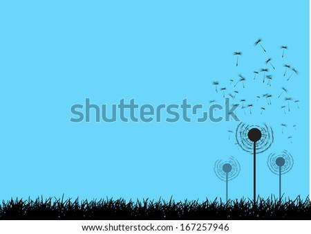 Vector dandelion seeds blown in the wind  - stock vector