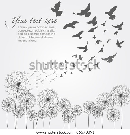 Vector Dandelion With Birds - stock vector