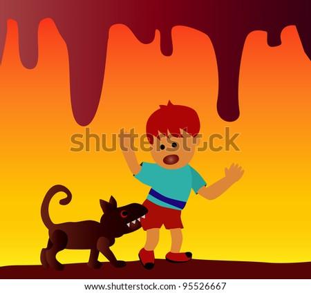 Vector - danger background.The boy was bitten by dog. - stock vector