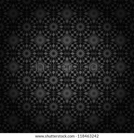 Vector. Dark abstract floral background. Seamless pattern. - stock vector