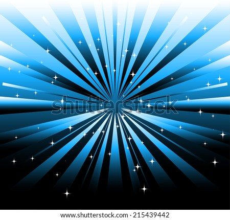 Vector dark background and blue ray with star - stock vector