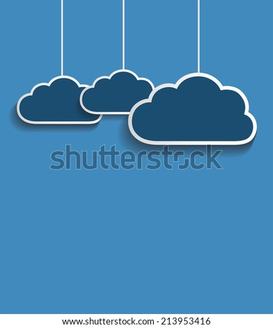 Vector dark clouds with blue background