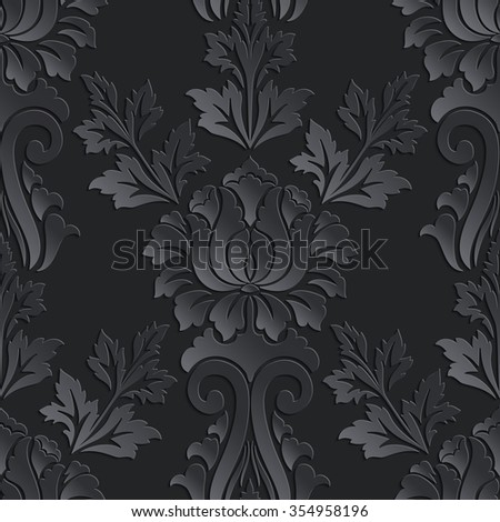 Vector dark damask seamless pattern element. Elegant luxury texture for wallpapers, backgrounds and page fill. 3D elements with shadows and highlights. Paper cut. - stock vector