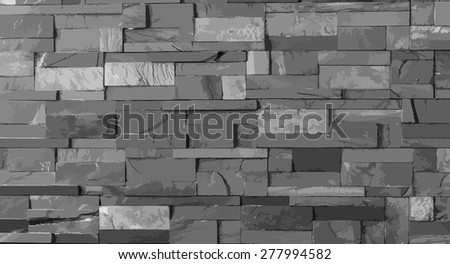 Vector, dark grey stone tile texture brick wall surfaced - stock vector