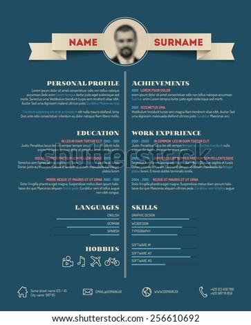 Vector Dark retro minimalist cv / resume template - blue version - stock vector