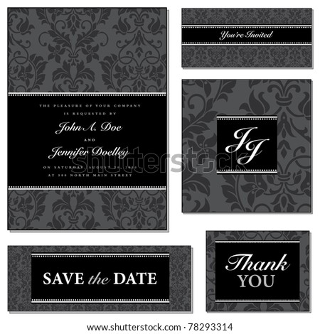 Vector Dark Victorian Frame Set. Easy to edit. Perfect for invitations or announcements. - stock vector