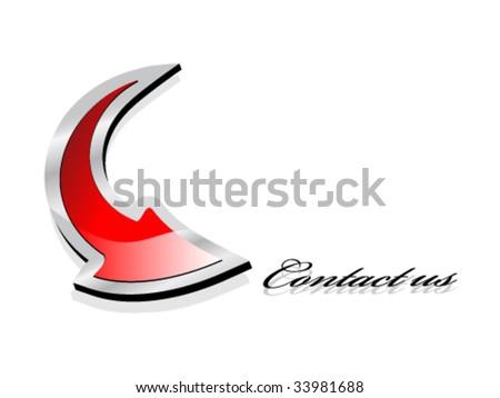 Vector - dart point at Contact us - stock vector
