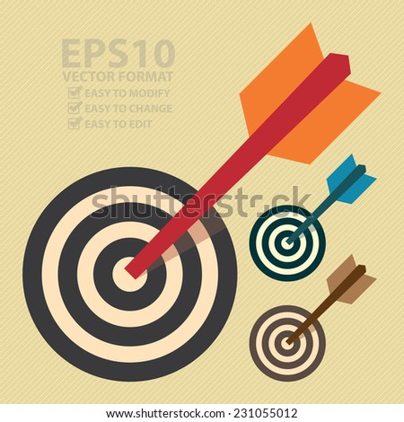 Vector : Darts Hitting a Target Bullseye, Business Concept - stock vector
