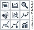 Vector data analysis icons set - stock photo