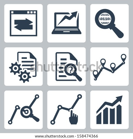 Vector data analysis icons set - stock vector