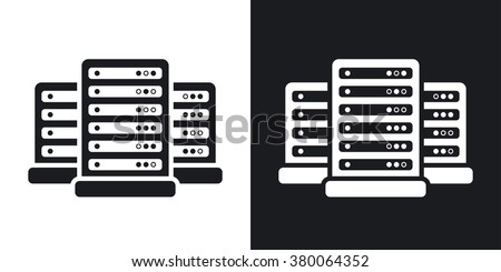 Vector data center icon. Two-tone version on black and white background - stock vector