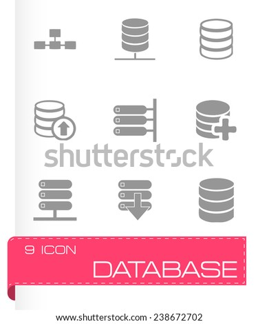Vector database icon set on grey background - stock vector