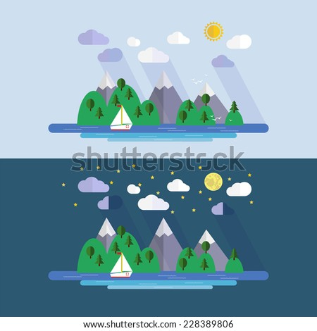 Vector  day and night  landscape with  lake, mountain and ship. EPS 10 - stock vector