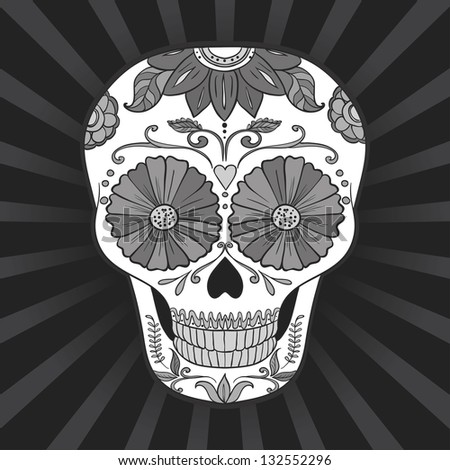 Vector Day of The Dead black and white Sugar Skull - stock vector