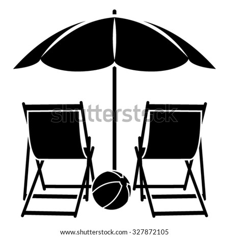 Vector Deck Chairs Under Beach Umbrella Stock Vector Royalty Free
