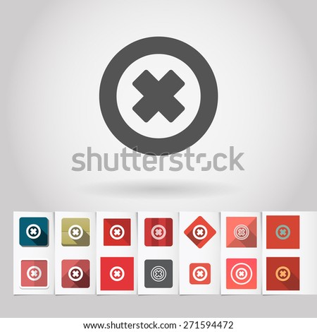 Vector decline or cancel sign icon and big set of square flat web mobile buttons on paper background - stock vector