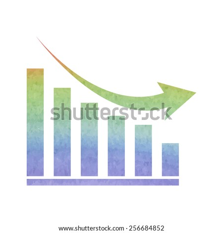 Vector declining graph icon. Watercolor effect - stock vector