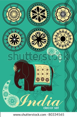 vector decor set in Indian style - stock vector