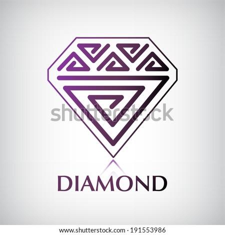 vector decorated shiny diamond logo, icon isolated - stock vector