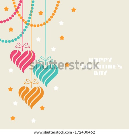 Vector decoration made from swirl heart shapes. Original modern design element. Greeting, invitation cute card with sample text - Happy Valentine's Day. Simple decorative illustration for print, web - stock vector