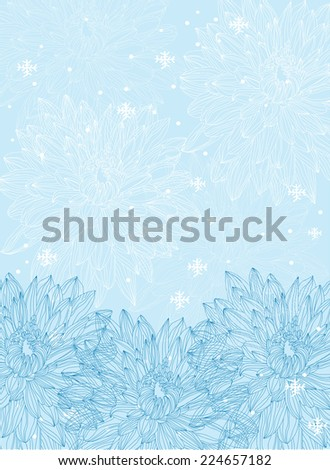 vector decorative background with flowers of winter with snow and snowflakes on blue background - stock vector