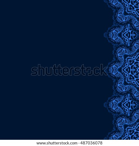 Vector decorative border blue lace snowflakes stock vector 487036078 vector decorative border with blue lace from snowflakes greeting invitation card with lace for stopboris Choice Image