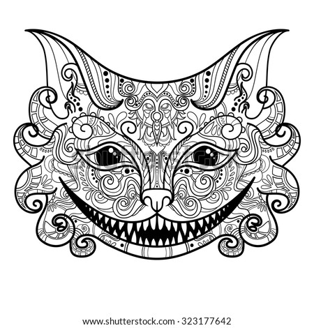 vector decorative cheshire cat isolated fictitious animal on white background zentangle style