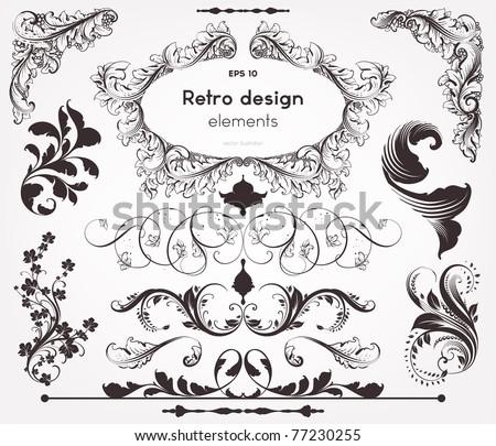 Vector decorative design elements: page decor, frames, banners & ornaments - stock vector