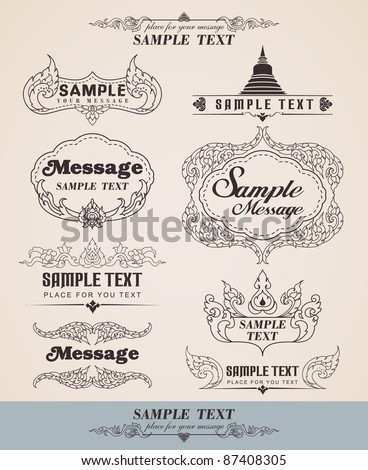 Vector decorative design thai elements - Lots of useful elements to embellish your layout - Line thai - Set of vintage design elements and frames - stock vector