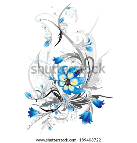 vector decorative floral composition with blue flowers and creative grey elements