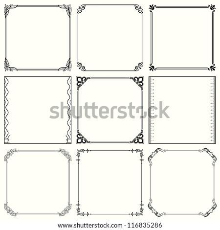 Vector decorative frames (set 37) - stock vector