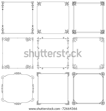 Vector decorative frames (set 8) - stock vector