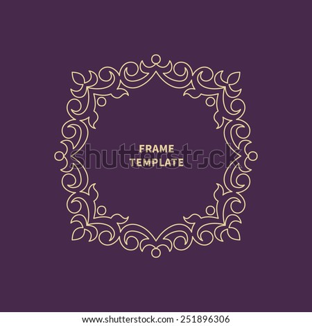 Vector decorative monogram for design template. Elegant element for logo design, place for text, line art floral frame. Light outline border.Lace illustration for invitations, greeting cards. - stock vector