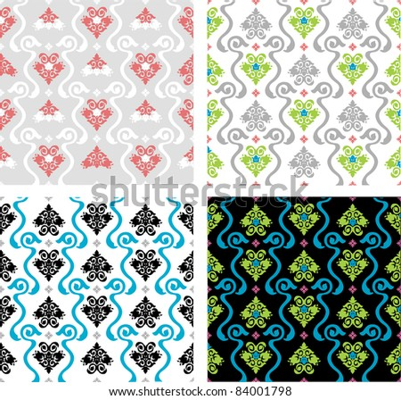 vector decorative ornamental red blue grey white black green colored background - stock vector