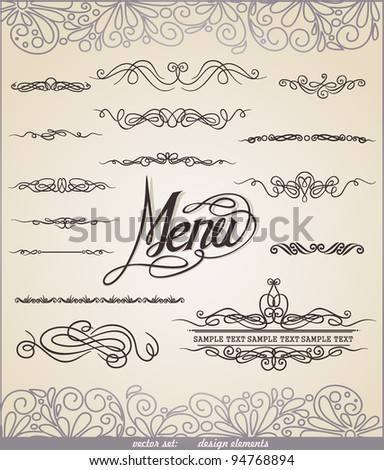 Vector decorative ornate design elements & calligraphic page decorations. Eps 8.