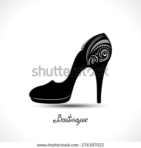 Vector Decorative Ornate Women's Shoe with Hand Drawn Inscription Boutique. Template of Sale Flyer