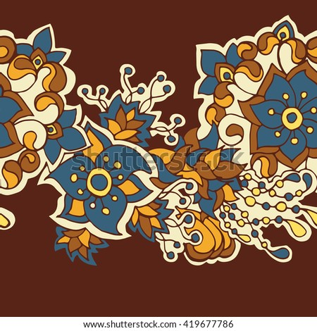 Vector decorative seamless hand-drawn pattern with flower border in doodle style. Bright ethnic floral design in jeans wear colors. - stock vector