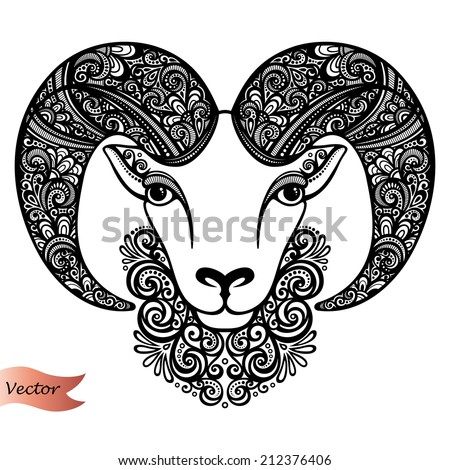 Vector Decorative Sheep with Patterned Horns. Patterned design - stock vector