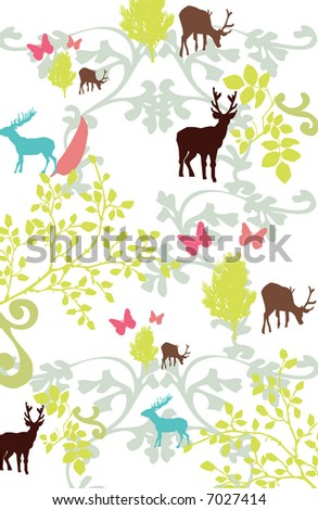vector - deer and floral abstract composition - stock vector